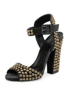 Studded Suede Chunky-Heel Sandal   Studded Suede Chunky-Heel Sandal
