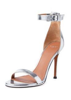 Ankle-Wrap Sandal, Silver   Ankle-Wrap Sandal, Silver