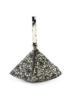 Baby's Breath-Print Triangle Large Leather Wristlet   Baby's Breath-Print Triangle Large Leather Wristlet