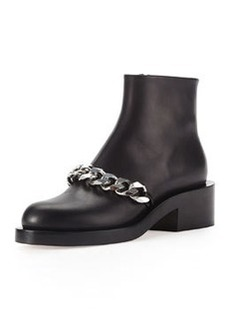 Chain Strap Leather Bootie, Black   Chain Strap Leather Bootie, Black