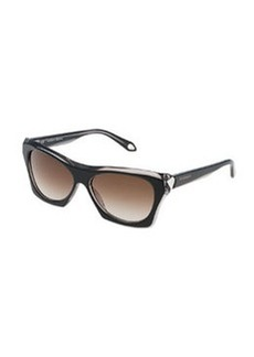 Faceted Square Sunglasses, Black/Gray   Faceted Square Sunglasses, Black/Gray