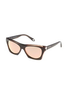 Faceted Square Sunglasses, Brown   Faceted Square Sunglasses, Brown