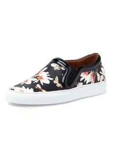 Floral-Print Slip-On Sneaker, Black   Floral-Print Slip-On Sneaker, Black