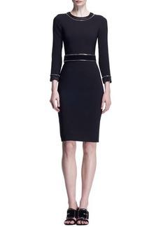Givenchy 3/4-Sleeve Zipper-Trim Dress