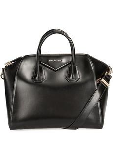Givenchy Antigona Black Leather Medium Satchel Bag w/ Shoulder Strap