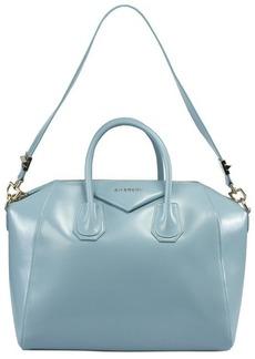 Givenchy Antigona Celeste / Sky Blue Leather Medium Satchel Bag w/ Shoulder Strap
