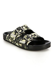 Givenchy Baby's Breath Printed Leather Slide Sandals