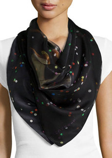 Givenchy Bambi-Print Paillette Silk Scarf