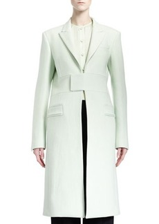 Givenchy Band-Detail Long Coat, Pale Green