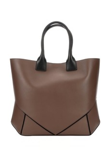 Givenchy beige leather geometric paneled top handle tote
