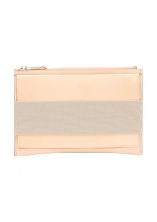 Givenchy beige leather multimedia zip top clutch