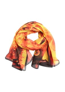 Givenchy black and orange cotton fireball printed mesh scarf