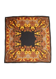 Givenchy black and orange silk fire paisley printed scarf