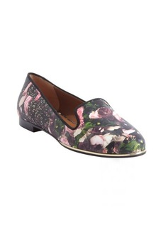 Givenchy black and pink floral printed leather flats