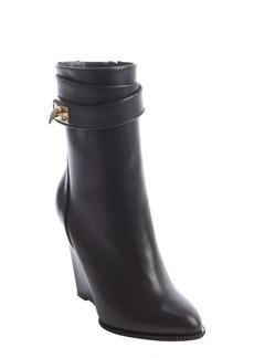 Givenchy black calfskin leather platform wedge zipper mid boot