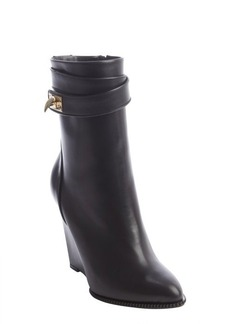 Givenchy black calfskin wedge boots