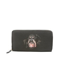 Givenchy black coated canvas 'Rottweiler' zip continental wallet