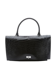 Givenchy black croc embossed calfskin large 'Shark Tooth' top handle bag