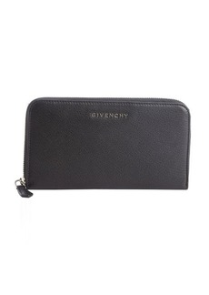 Givenchy black leather continental zip around wallet