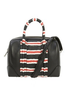 Givenchy black leather 'Lucrezia' multi-color accent logo imprinted convertible top handle bag