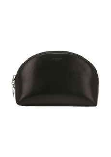 Givenchy black leather zip around cosmetic travel bag