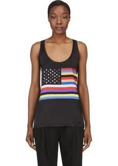 Givenchy Black Silk American Flag Tank Top