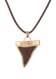 Givenchy Braided Leather Bolo Tie Necklace with Shark's Tooth Pendant