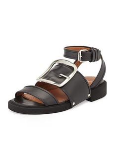 Givenchy Buckle-Strap Leather Sandal, Black