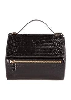 Givenchy Croc Embossed Black Leather Medium Pandora Box Bag