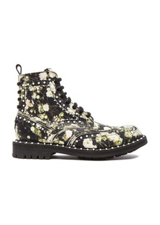 """GIVENCHY <div class=""""product_name"""">Pearl Studded Leather Runway Boots</div>"""
