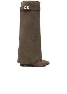 """GIVENCHY <div class=""""product_name"""">Shark Lock Tall Suede Pant Boots</div>"""