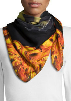 Givenchy Flame-Trim Bambi Square Scarf, Orange/Black