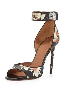 Givenchy Floral-Print Leather Ankle-Wrap Sandal