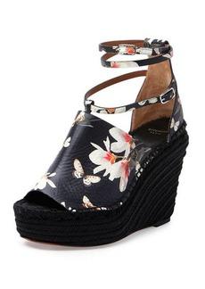 Givenchy Floral-Print Wedge Sandal, Black