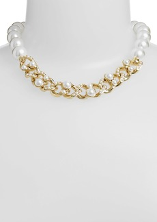 Givenchy Glass Pearl Link Collar Necklace