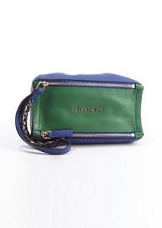 Givenchy green and blue leather colorblock dual pocket 'Pandora' travel pouch