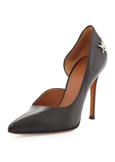 Givenchy Leather Star-Stud Half d'Orsay Pump, Black