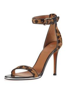 Givenchy Leopard-Print Calf Hair Ankle-Wrap Sandal