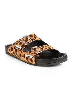 Givenchy Leopard-Print Calf Hair Swiss Sandals