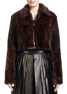 Givenchy Long-Sleeve Cropped Fur Jacket, Brown