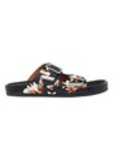 Givenchy Magnolia & Moth Double-Buckle Sandals