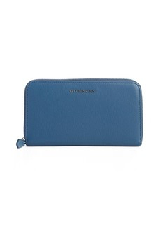 Givenchy medium blue leather zip around continental wallet
