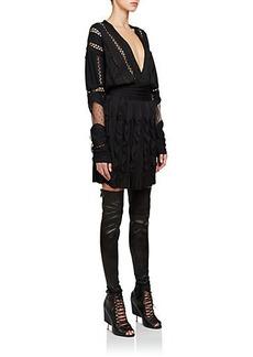 Givenchy Mixed-Media V-Neck Dress