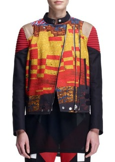 Givenchy Mosaic Double-Zip Moto Jacket