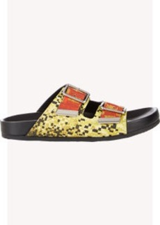 Givenchy Mosaic Pixel Double-Buckle Sandals