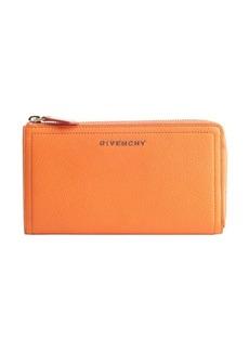 Givenchy orange leather zip around continental wallet