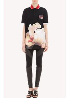 Givenchy Orchid-Print Piqué Polo Shirt