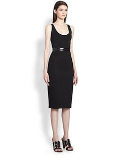 Givenchy Patent-Trimmed Neoprene Zipper Dress