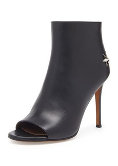 Givenchy Peep-Toe Leather Star Bootie, Black