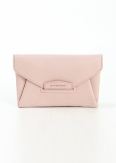 Givenchy petal pink leather logo imprinted clutch